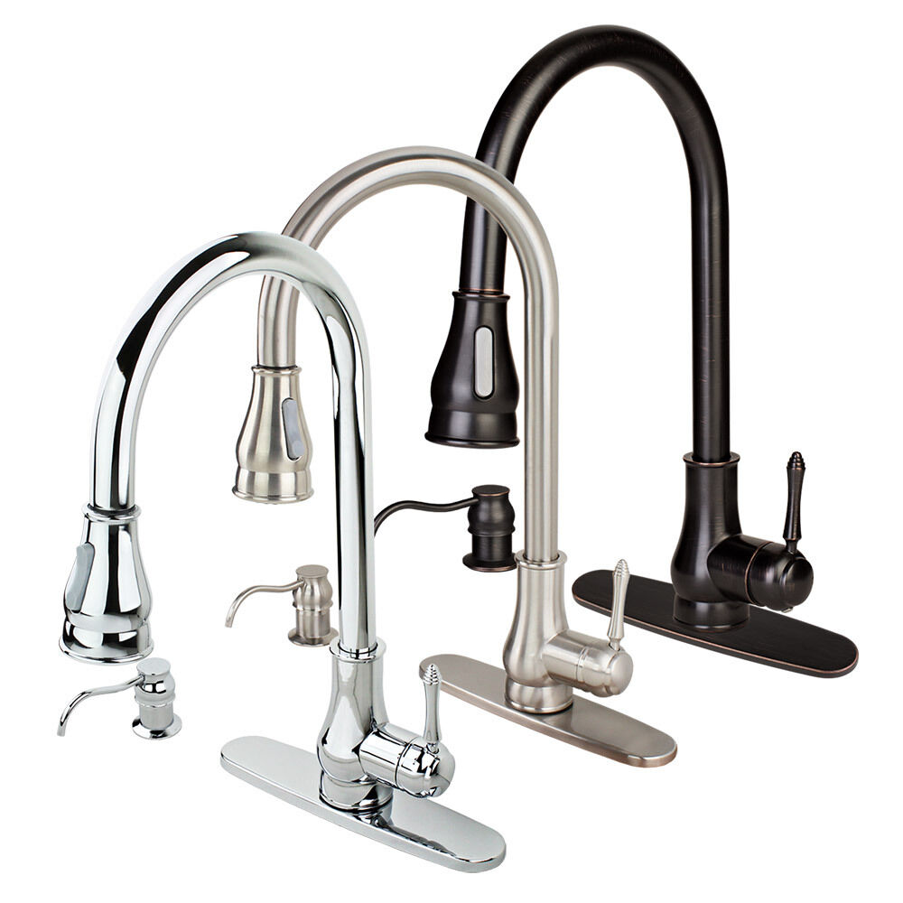 New contemporary kitchen sink faucet pull out spray swivel for Best kitchen sinks and faucets