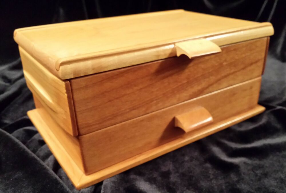 Wood jewelry box handmade cherry maple hardwood ebay for Jewelry box made of wood