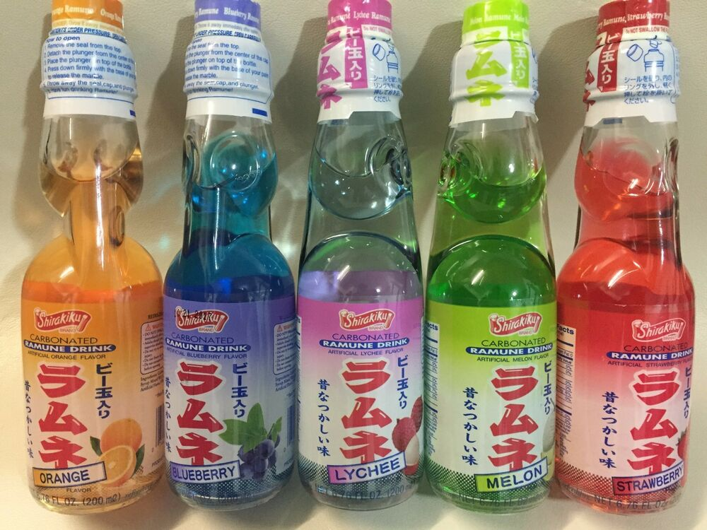 Ramune Japanese soda 5 Tropical Flavor Marble Soft Drink ...