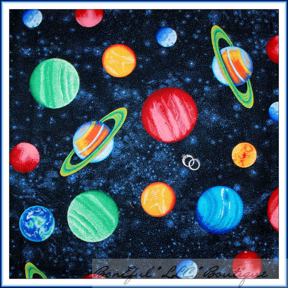 Boneful fabric fq cotton quilt planet space star war decor for Space flannel fabric
