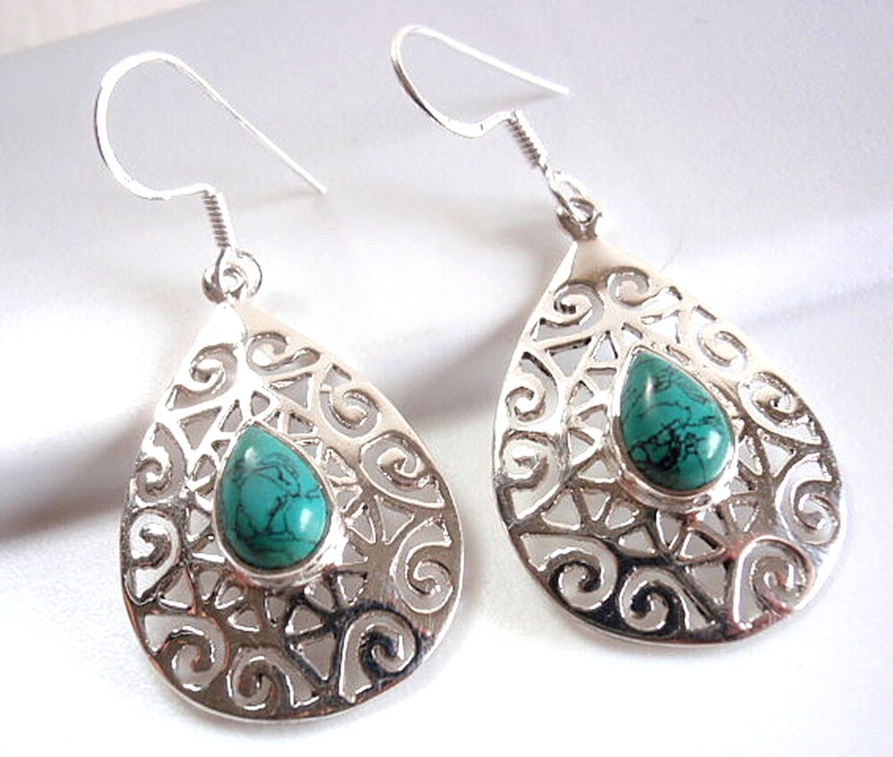 turquoise earrings floral accented filigree 925 sterling. Black Bedroom Furniture Sets. Home Design Ideas