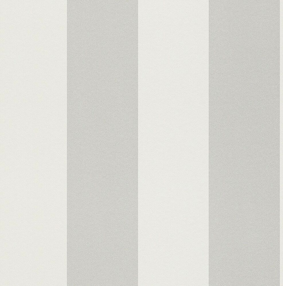 Silver and off white wide stripe washable wallpaper 286632 for White washable wallpaper
