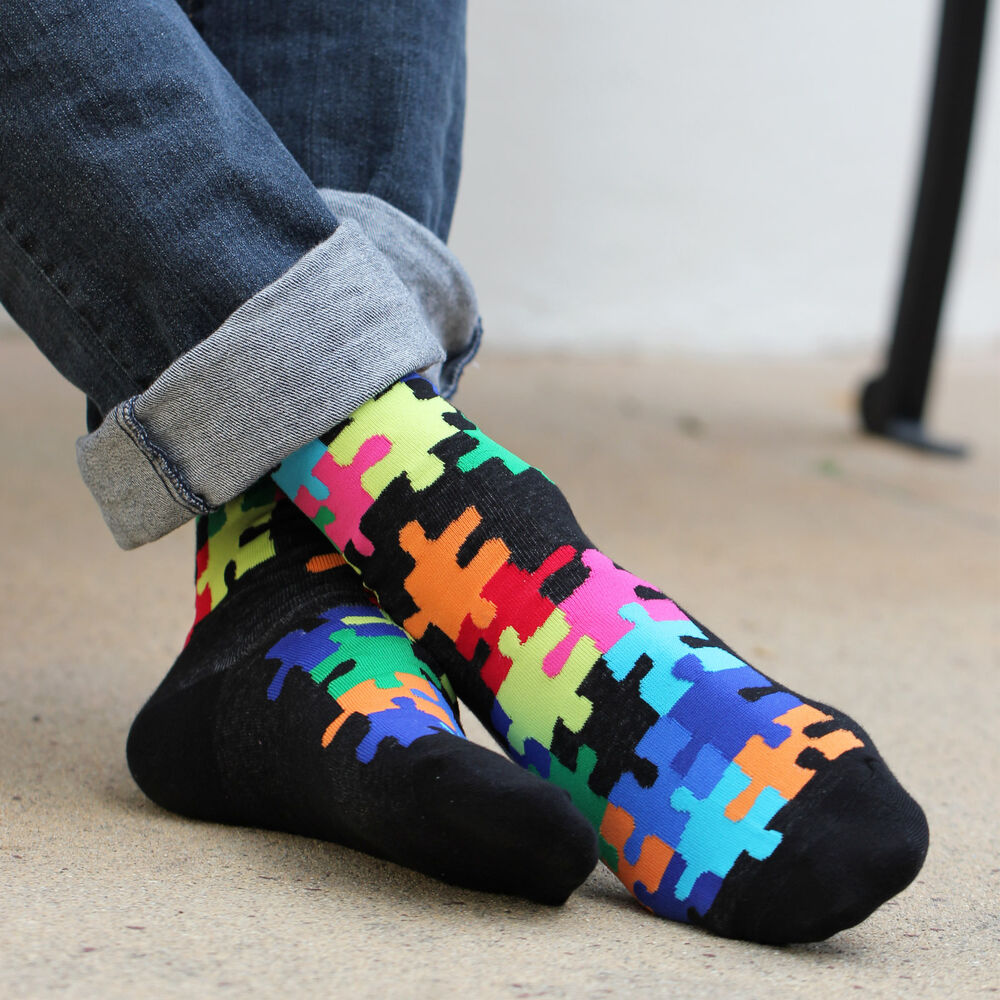 K.Bell Men's Pair Socks Bright Black Jig Saw Puzzle Cotton ...