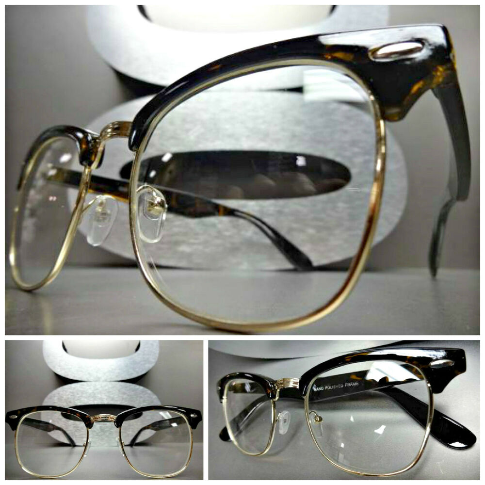 Gold Frame Vintage Glasses : Mens Women VINTAGE 60s RETRO Style Clear Lens EYE GLASSES ...
