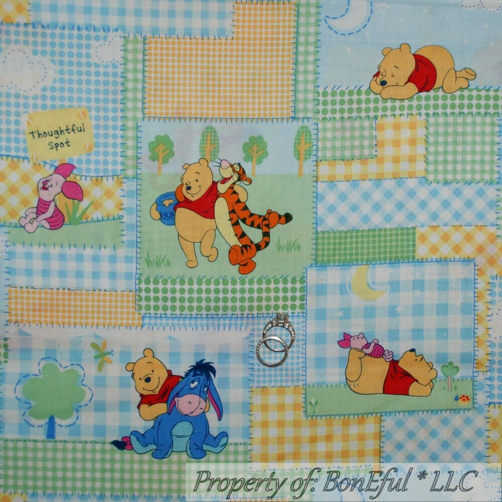 Boneful fabric fq cotton quilt winnie the pooh baby girl for Baby girl fabric