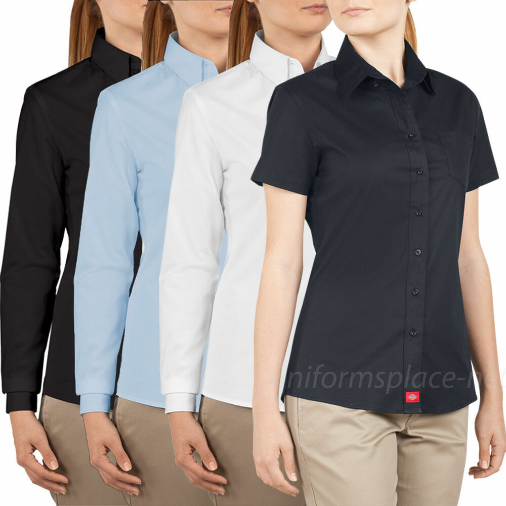 Dickies shirts womens juniors 39 fit short long sleeve for Women s short sleeve button down cotton shirts