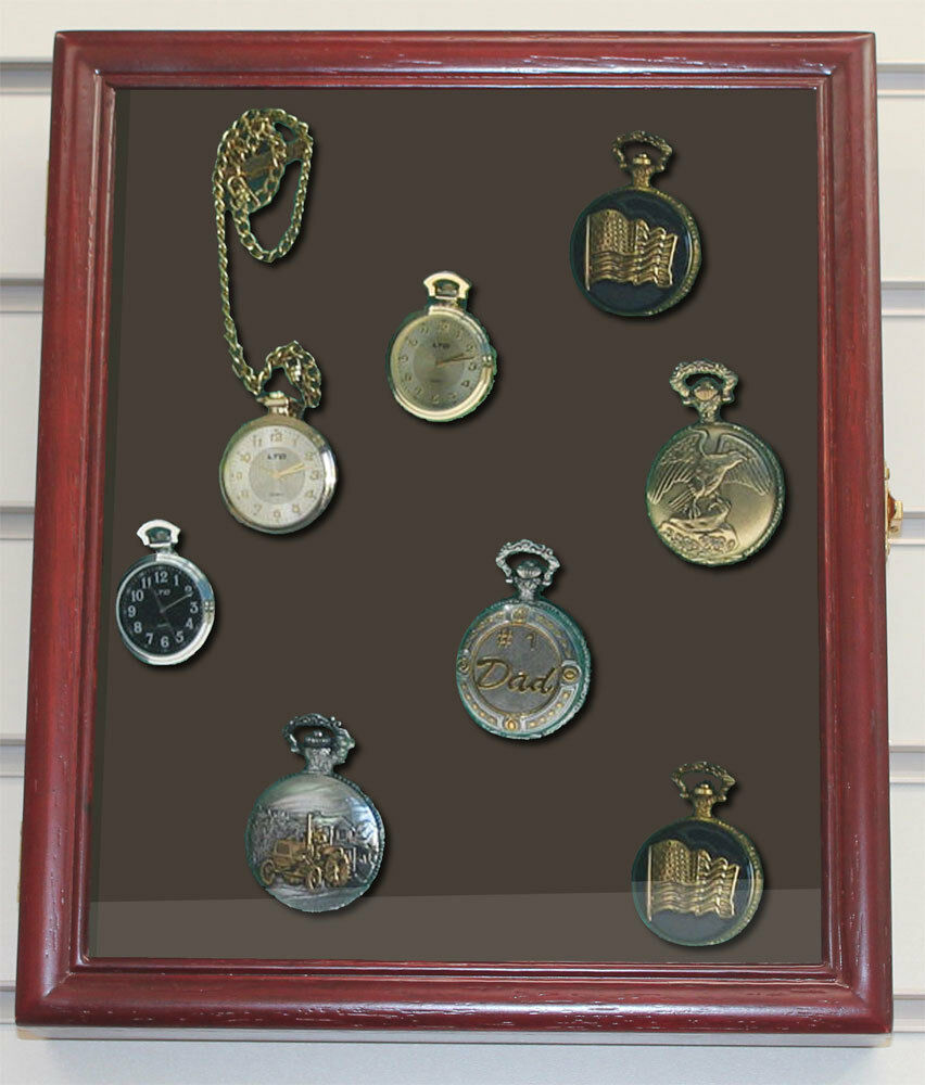 Display Case Shadow Box Cabinet For Pocket Watches Wood