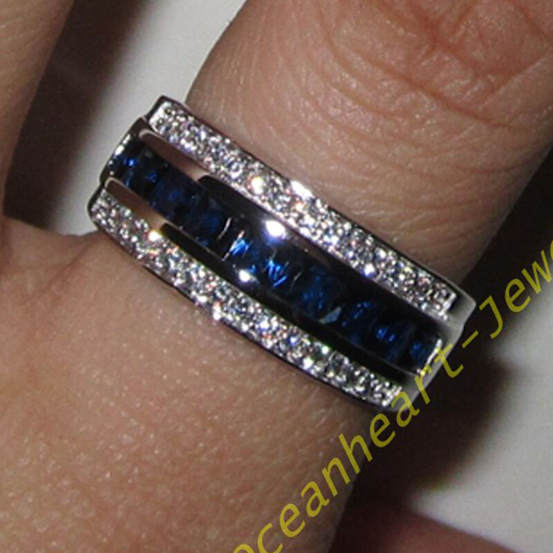 classic mens jewelry blue sapphire 10kt white gold filled. Black Bedroom Furniture Sets. Home Design Ideas