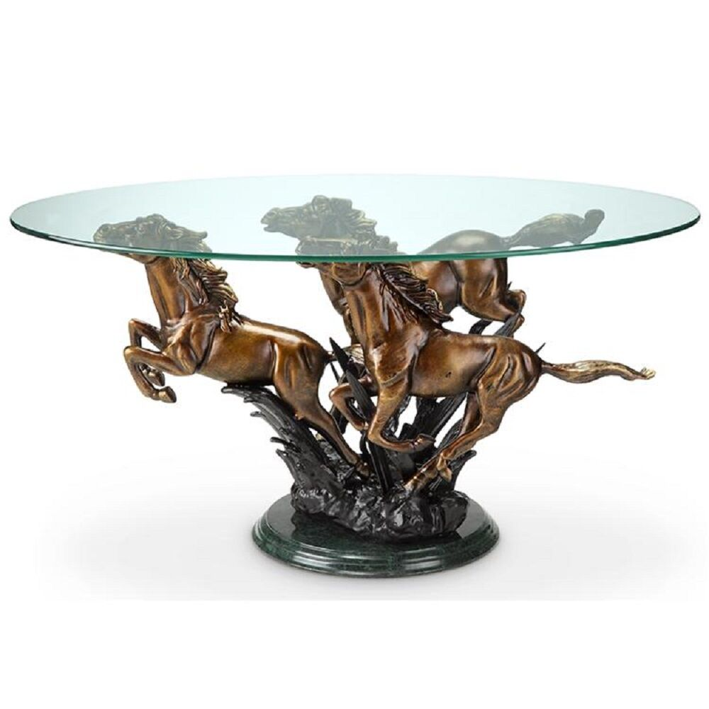 Galloping Horse Trio Coffee Table Stallion Western