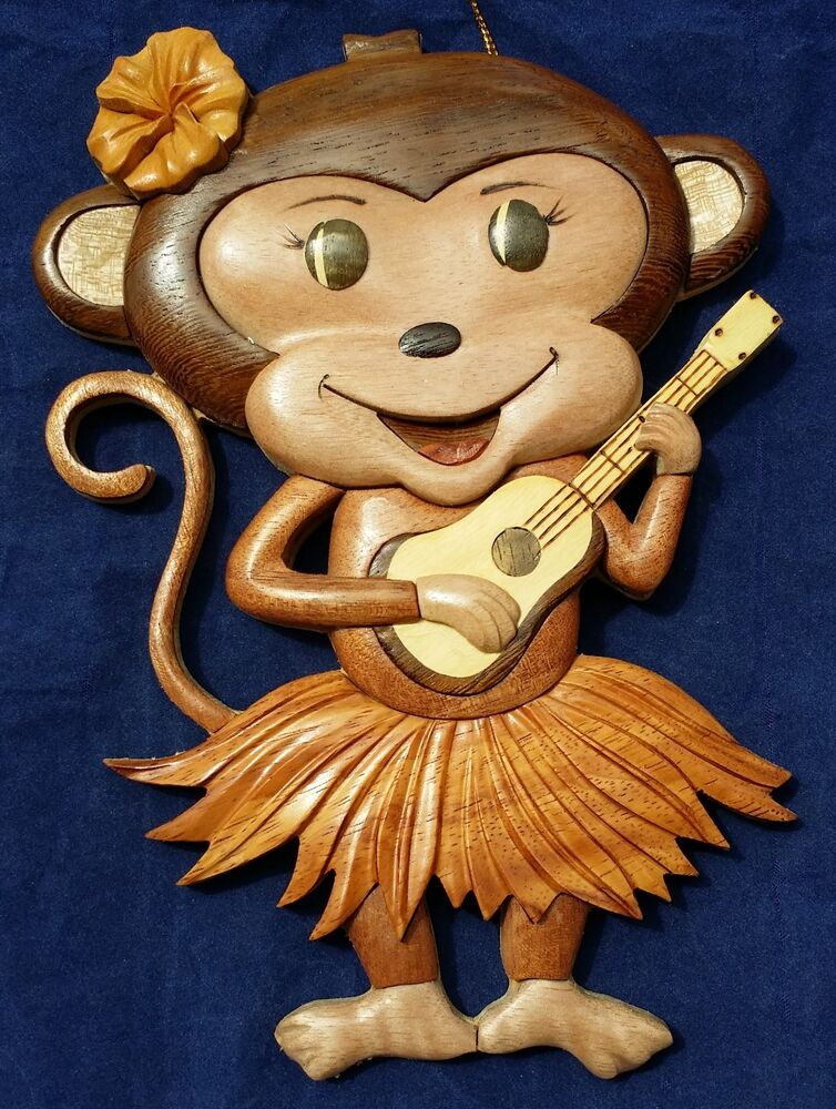 M Hawaiian Monkey Hula Girl Ukulele Handcrafted Wood Art