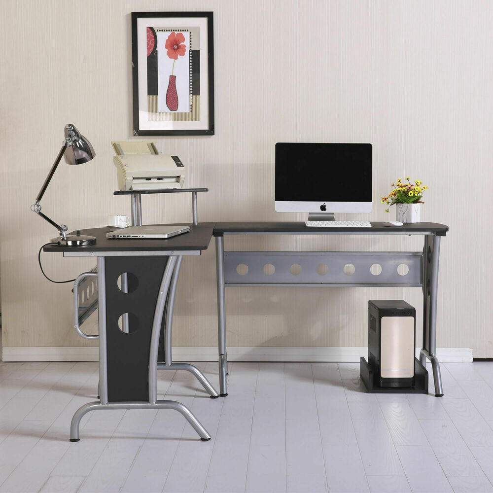 Corner computer pc desk home office table furniture for Table ordinateur