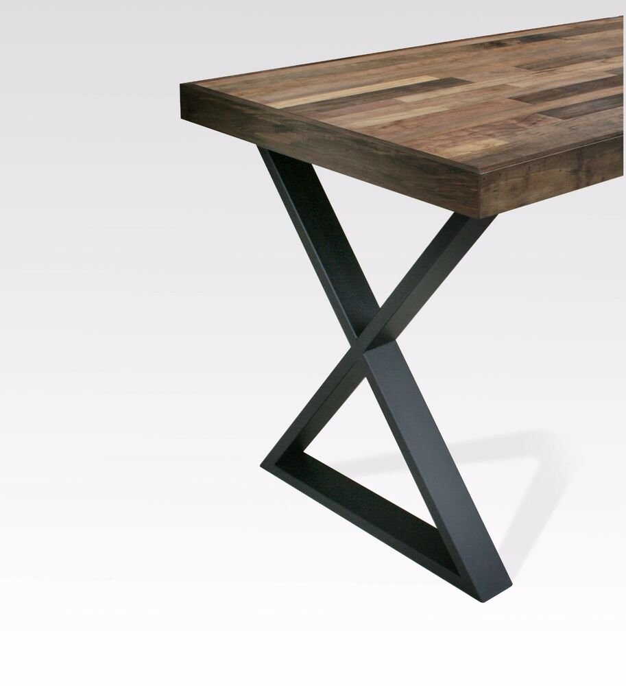 Black matte steel table x legs satin pair contemporary for Steel dining table legs