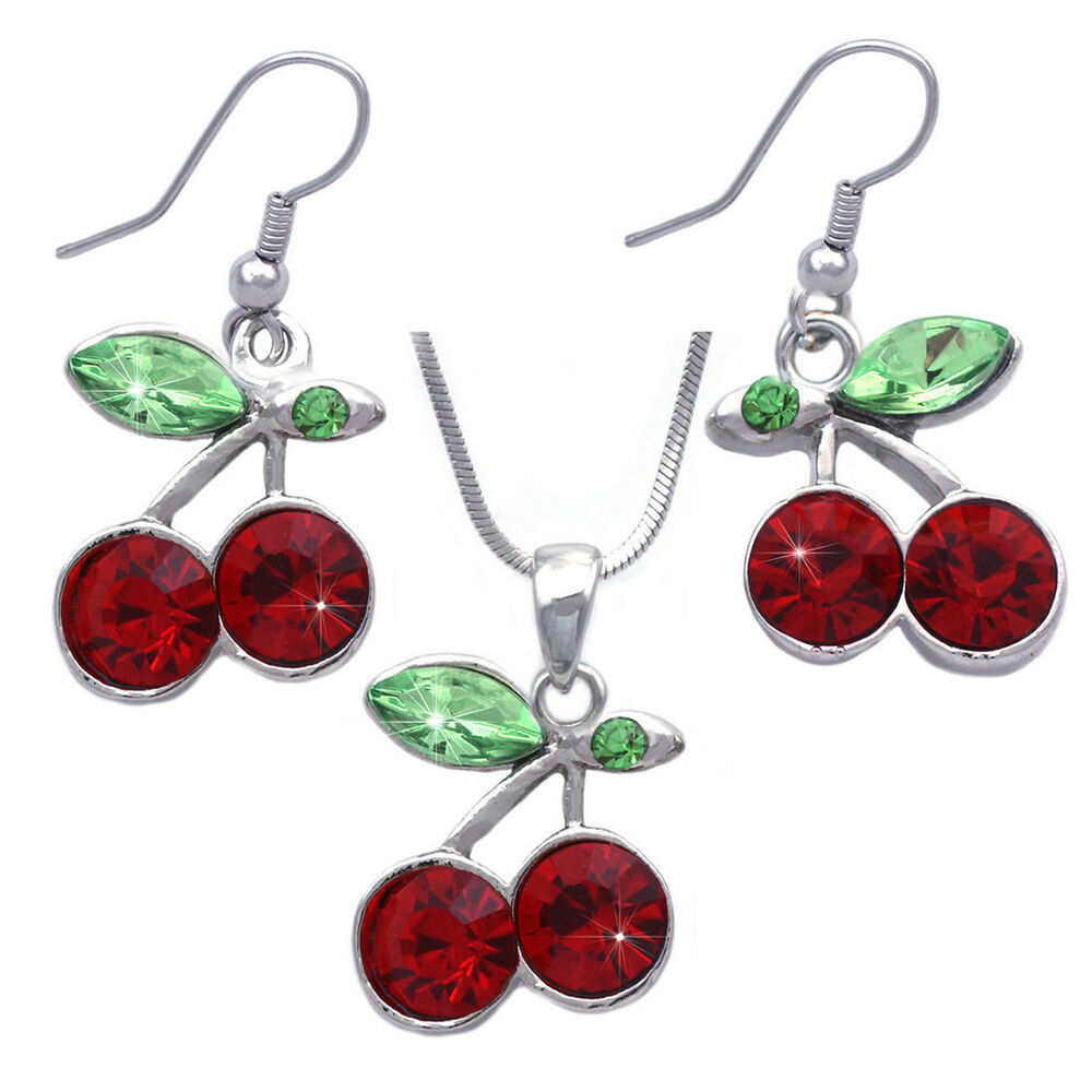 fruit jewelry green cherry fruit charm pendant necklace dangle hook 162