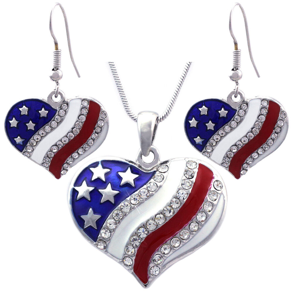 4th of july earrings 4th of july usa american flag patriotic pendant 8644