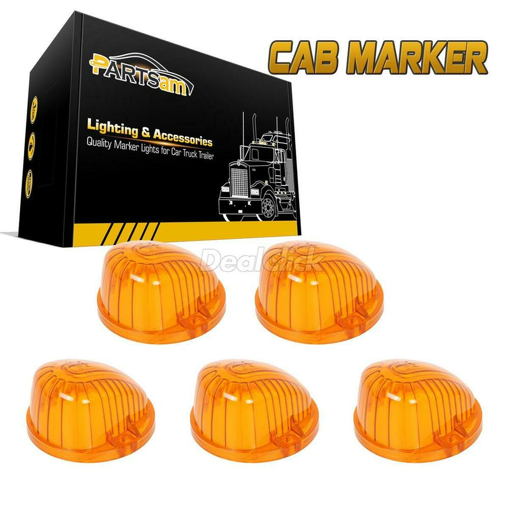 5 Amber Round Shape Cab Marker Light 9069a Cover Lens For