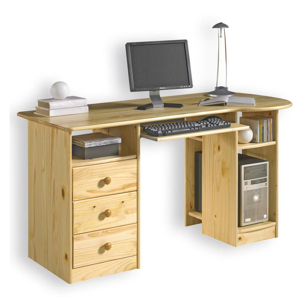 schreibtisch computertisch pc schreibtisch kiefer massiv natur lackiert ebay. Black Bedroom Furniture Sets. Home Design Ideas