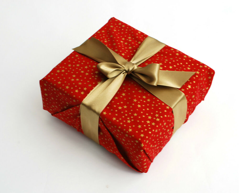 Luxury Reusable Fabric Gift Wrapping, Christmas, Red With