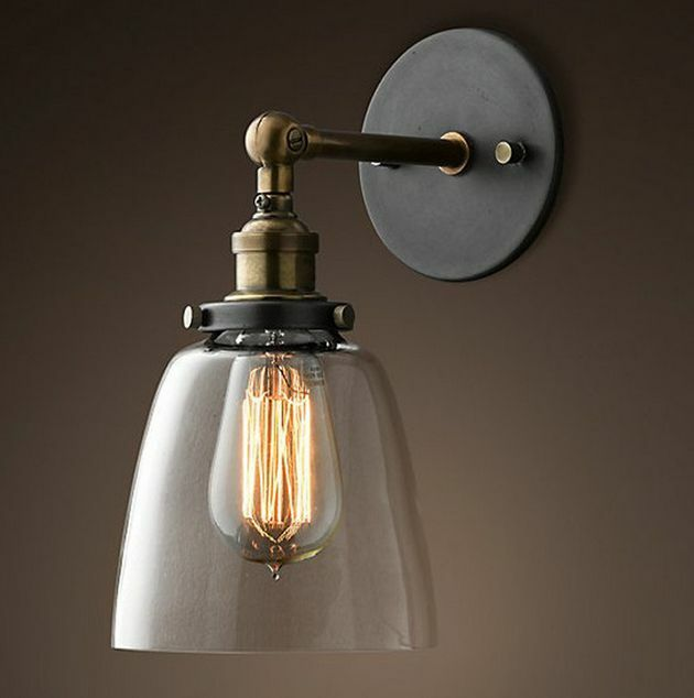 Antique Vintage Industrial Wall Lamp Glass Cover Light Diy