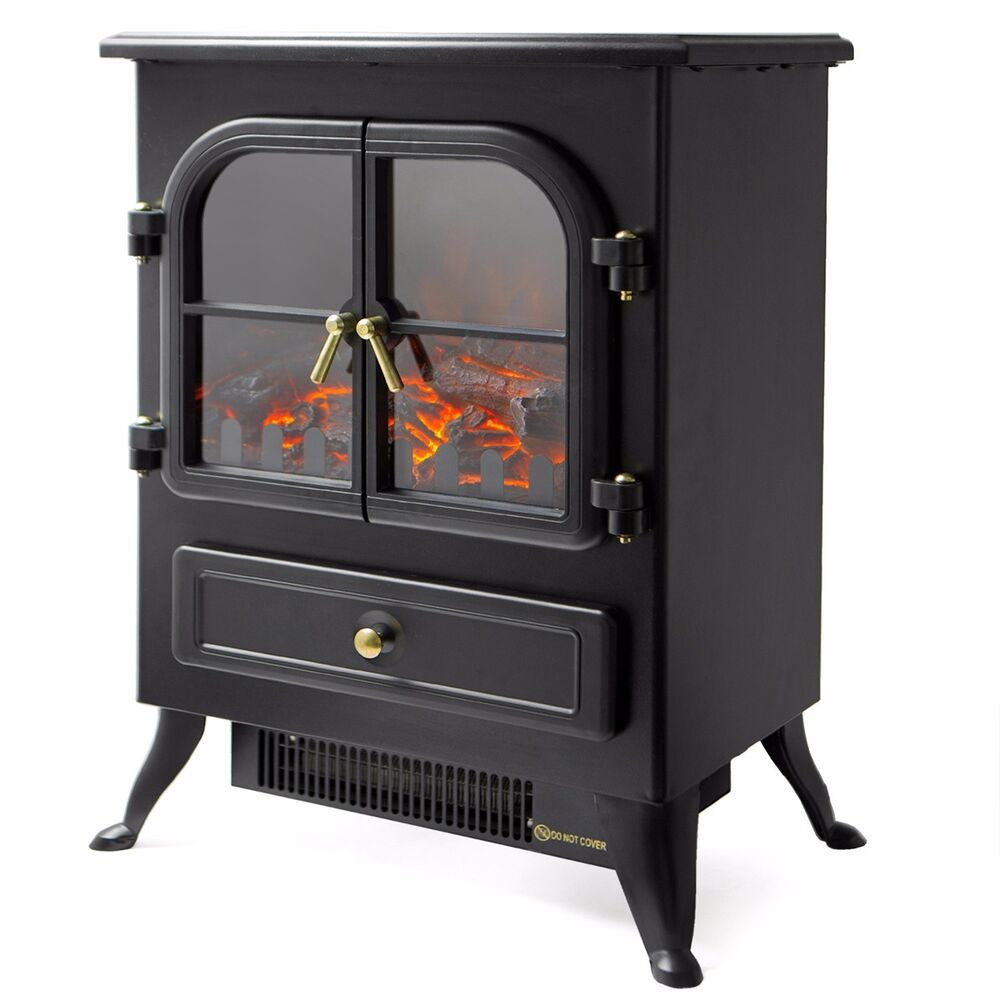1500 Watt Free Standing Log Electric Portable Fireplace Space Heater Wood Log Ebay