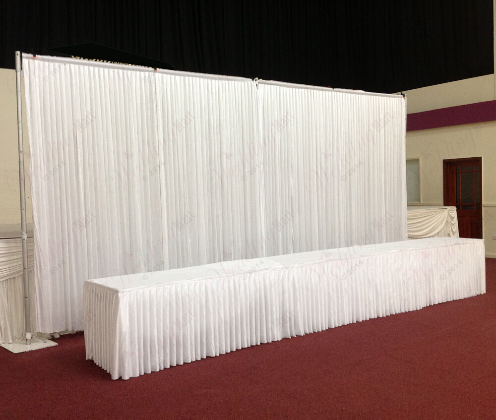 6mx3m white wedding backdrop curtain with economy telescopic stands for sale ebay. Black Bedroom Furniture Sets. Home Design Ideas