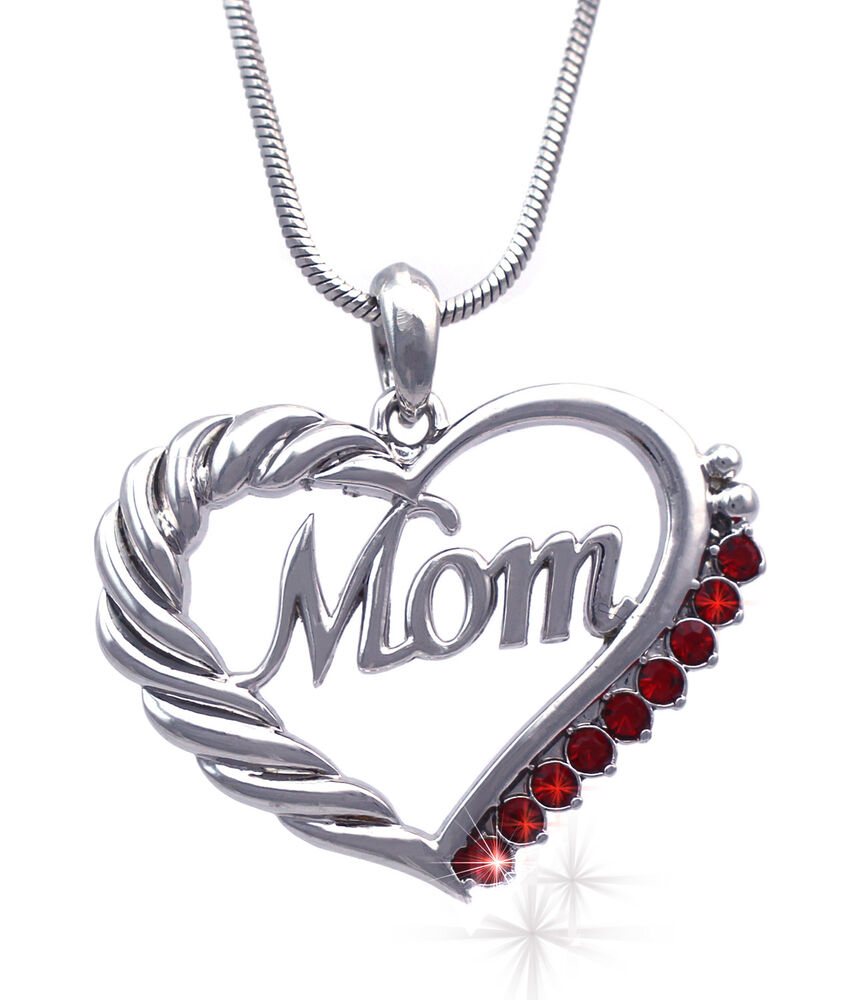 MOM Red Crystal Heart Pendant Necklace July Birthstone ...