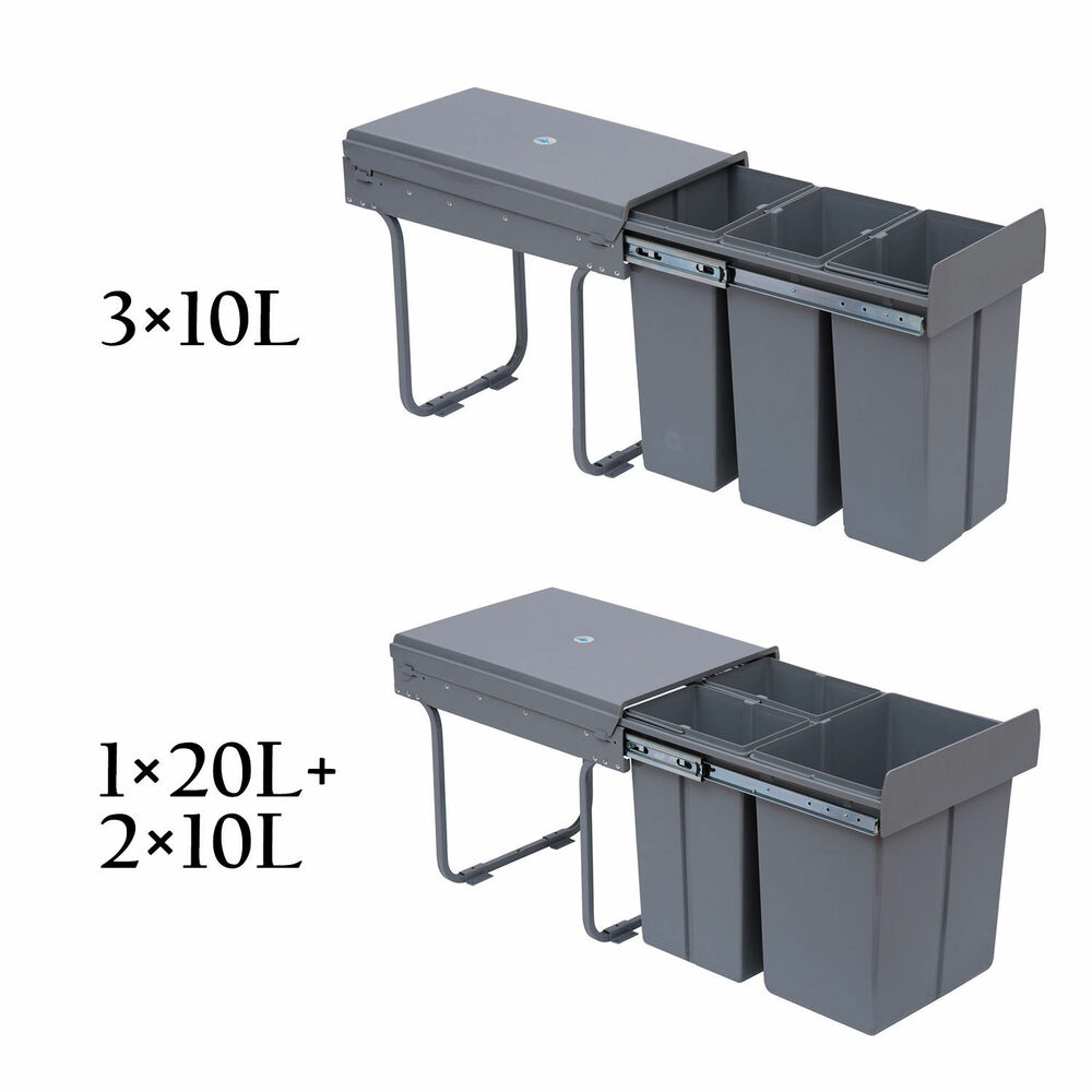 Kitchen Cabinet Waste Bins: Recycle Waste Bin 30/40L Sorter Recycling Pull Out & Soft