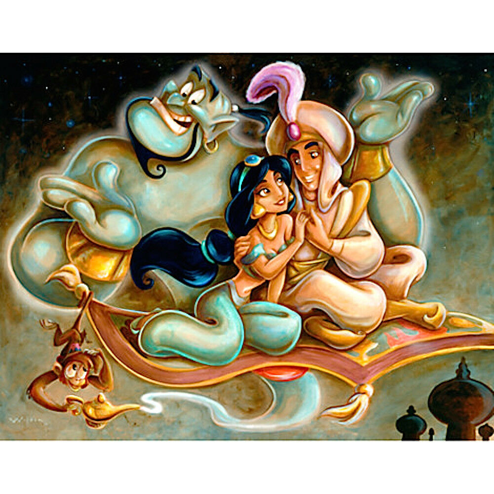 disney aladdin and jasmine a whole new world darren wilson art print 16 x 20 ebay. Black Bedroom Furniture Sets. Home Design Ideas