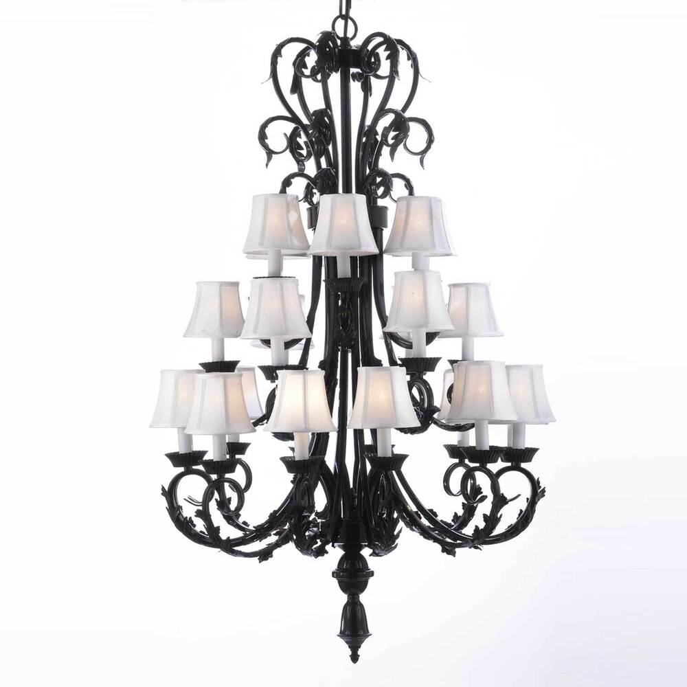 Wide Foyer Chandelier : Large foyer entryway wrought iron chandelier lighting