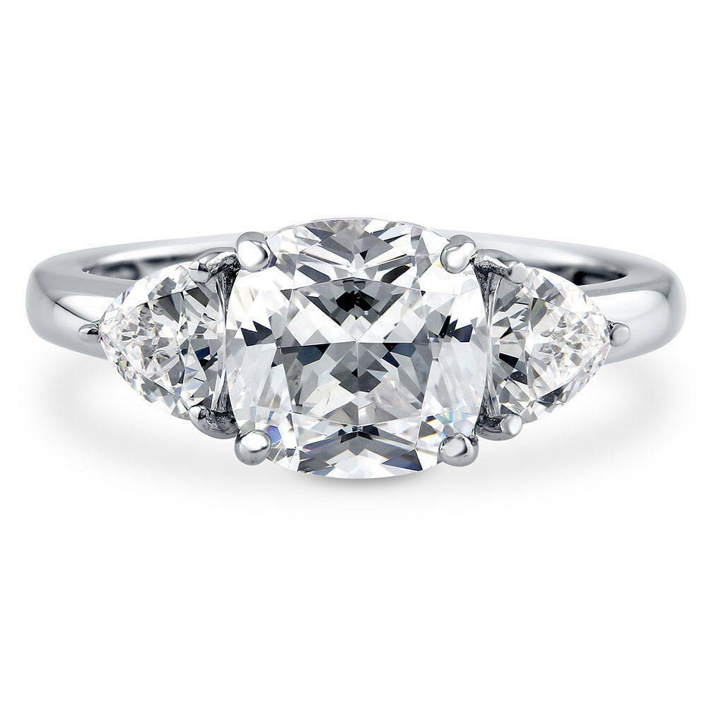 BERRICLE Sterling Silver Cushion Cut CZ 3 Stone Engagement Ring 2 88 Carat