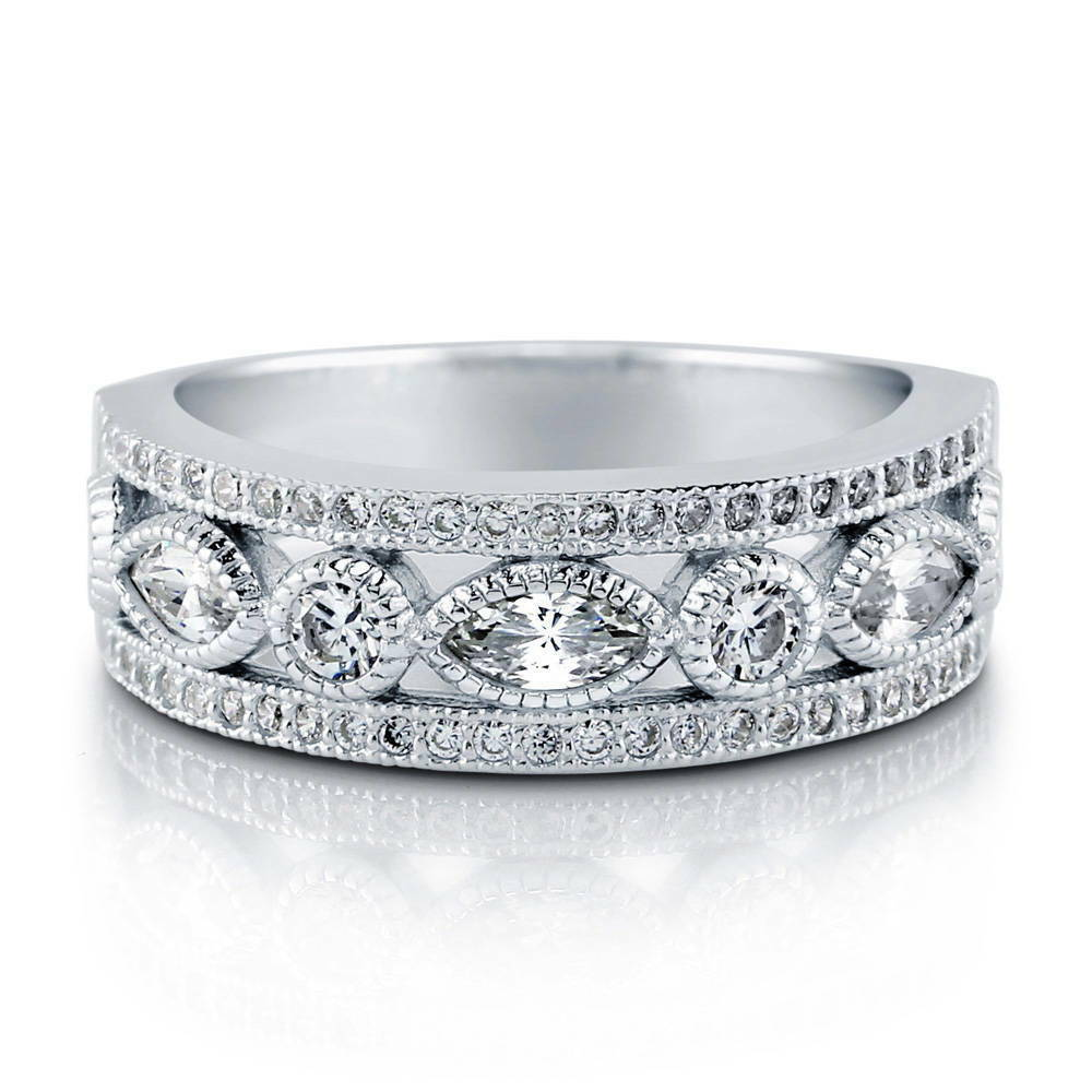 berricle sterling silver cz deco half eternity band