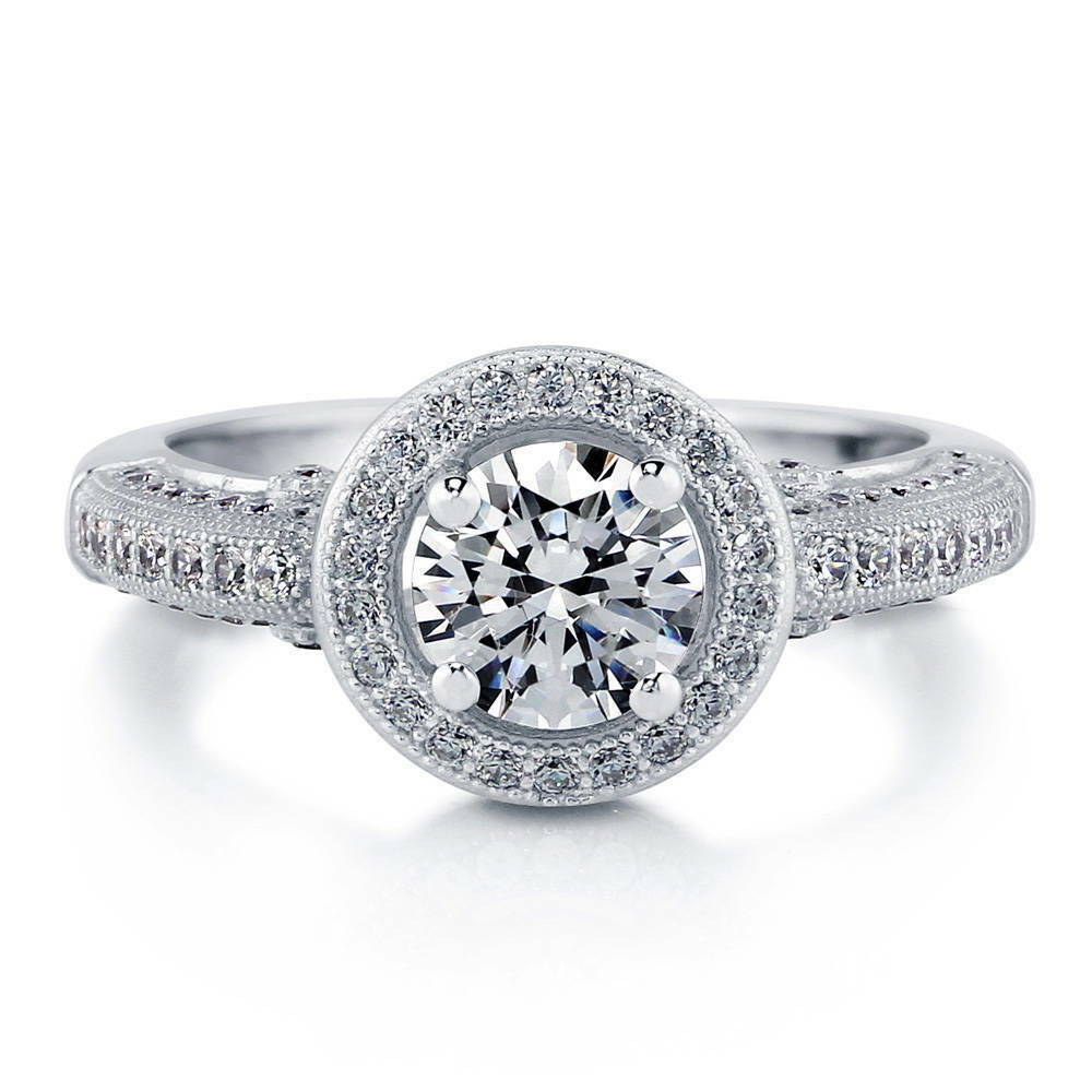 silver halo milgrain engagement ring made with swarovski. Black Bedroom Furniture Sets. Home Design Ideas