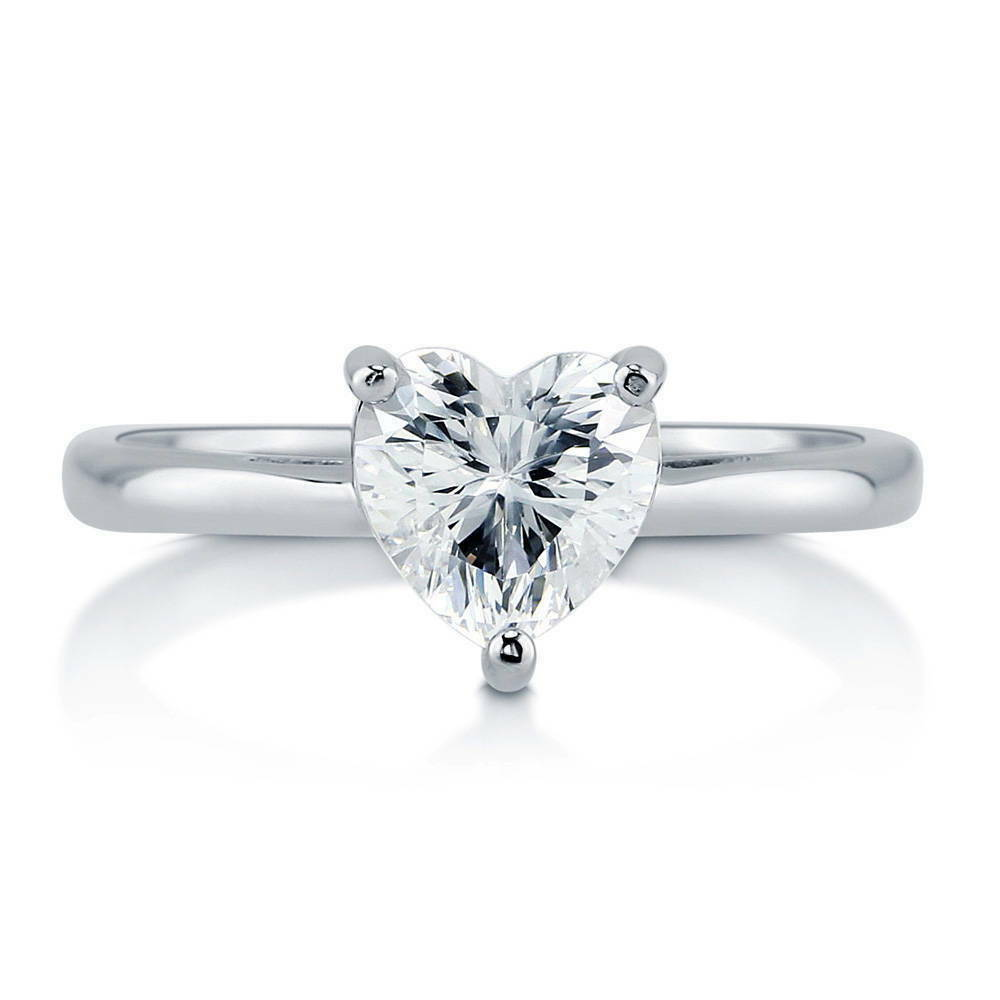 berricle sterling silver heart shaped cz solitaire. Black Bedroom Furniture Sets. Home Design Ideas