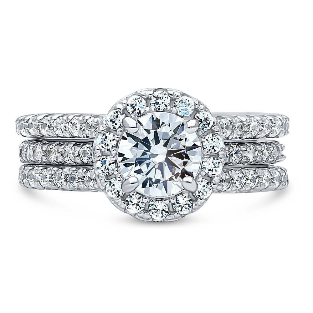 Berricle Sterling Silver Round Cz Halo Engagement Insert
