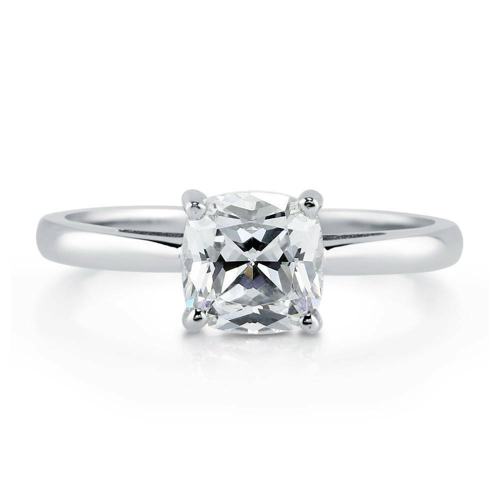BERRICLE Sterling Silver Cushion Cut CZ Solitaire Engagement Ring 1 Carat