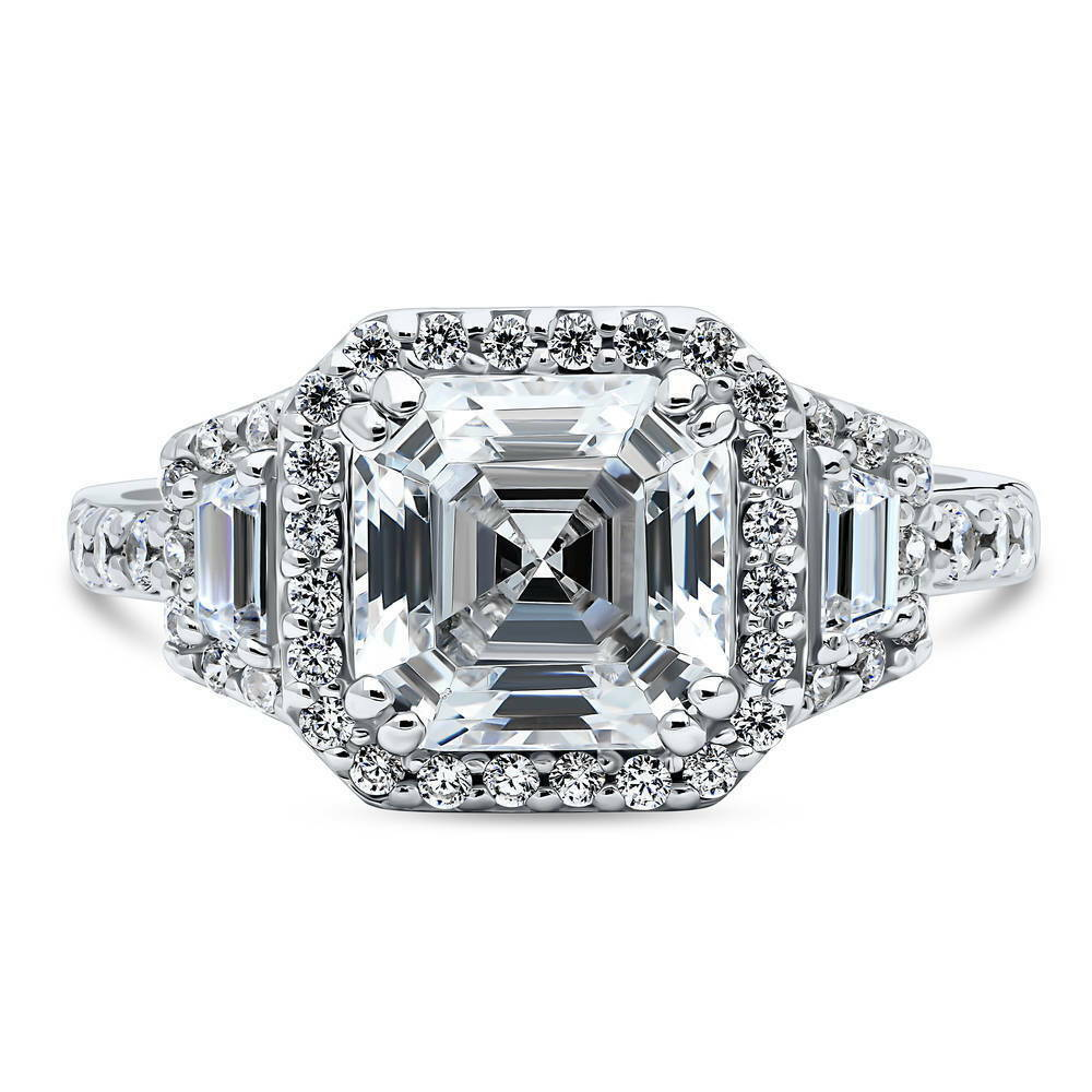 berricle sterling silver asscher cut cz halo art deco. Black Bedroom Furniture Sets. Home Design Ideas