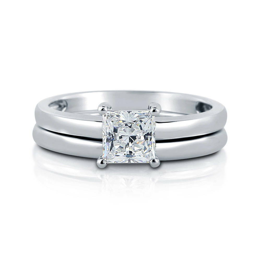 berricle sterling silver princess cz solitaire engagement ring set 1
