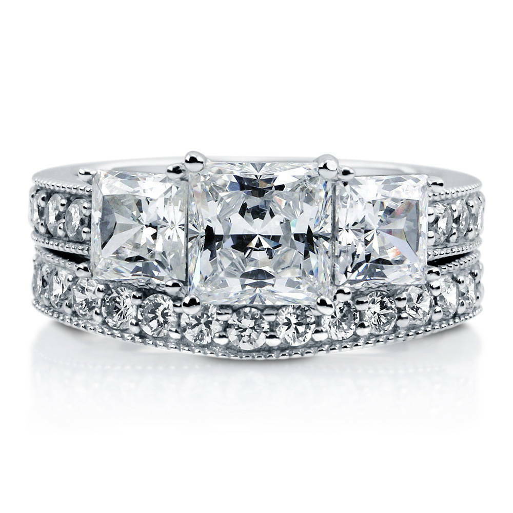 Stone Wedding Rings: BERRICLE Sterling Silver Princess CZ 3-Stone Engagement
