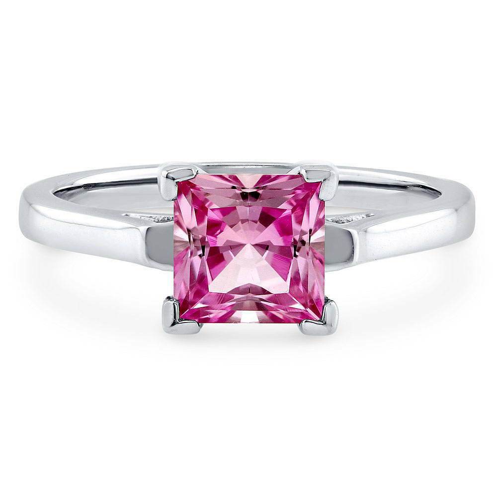 Berricle sterling silver princess cut pink cz solitaire for Wedding rings with pink