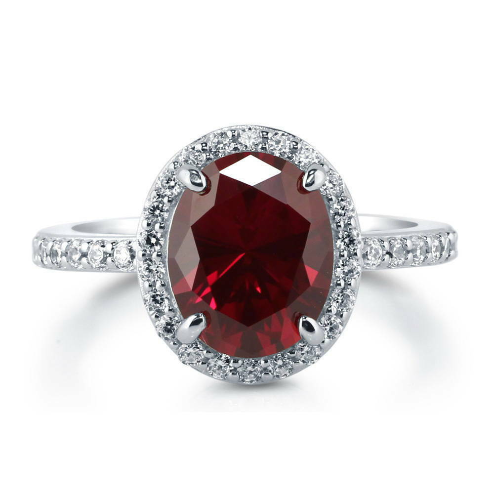 Berricle Sterling Silver Oval Simulated Ruby Cz Halo