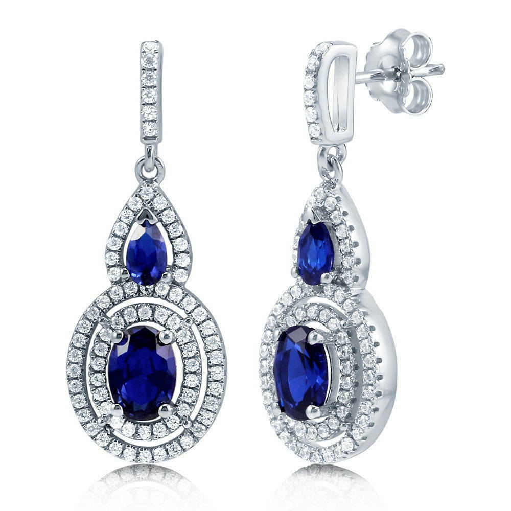 BERRICLE 925 Silver Oval Simulated Blue Sapphire CZ Halo ...