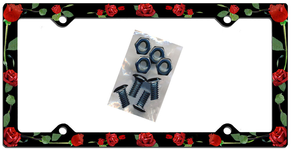 Red Roses License Plate Frame Gifts Girls Ladies Women