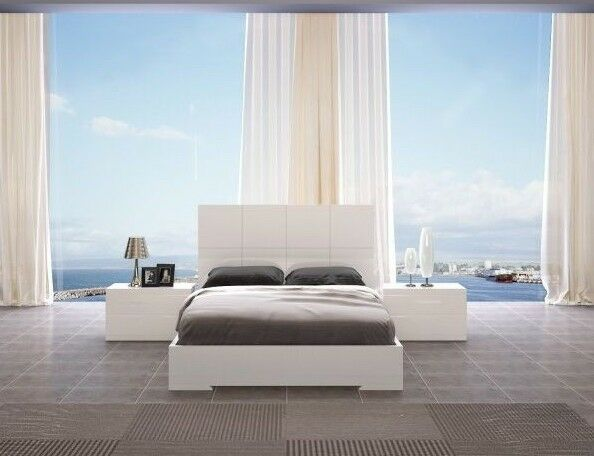 65 w queen bed white high gloss wooden base square headboard modern