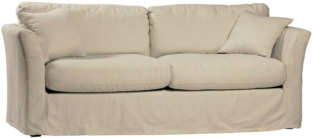 Sale 80 Quot L Sofa Slipcovered White Linen Cotton Comfortable