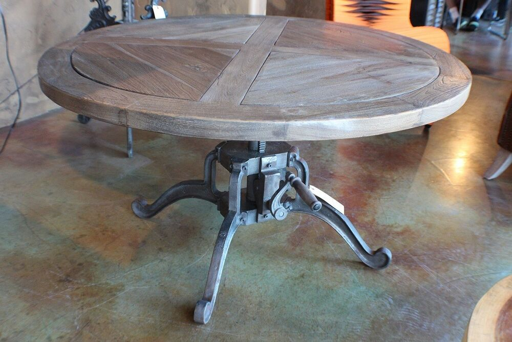 42 Round Hand Crank Coffee Table Heavy Cast Iron Legs Solid Reclaimed Wood Ebay