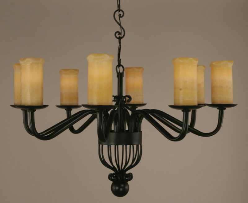 Cantabria 8 Lights Chandelier Iron With Stone Onyx Shades