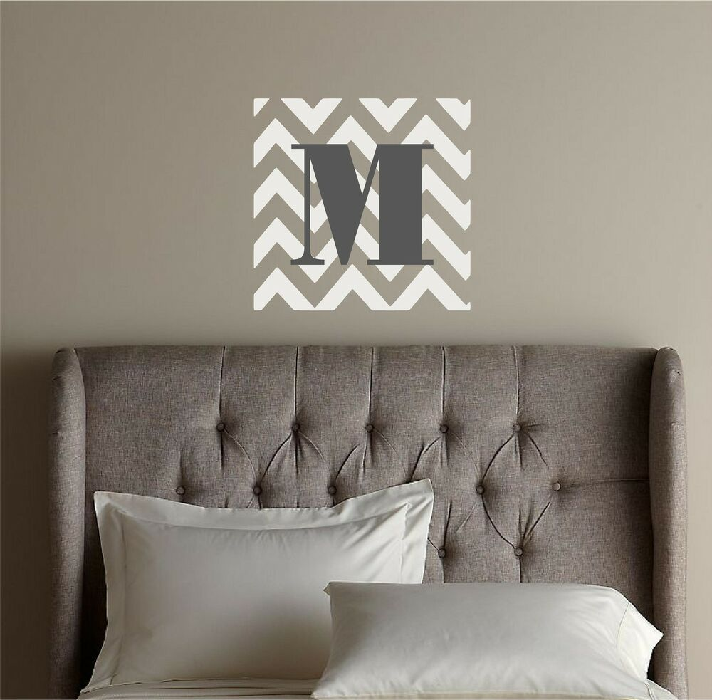 chevron initial monogram custom vinyl decor wall lettering words quote decal art ebay. Black Bedroom Furniture Sets. Home Design Ideas