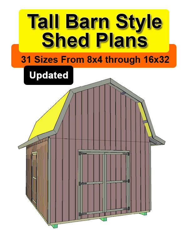 10x20 Tall Barn Style Shed Plans in 31 sizes from 8x4 to 16x32 | eBay