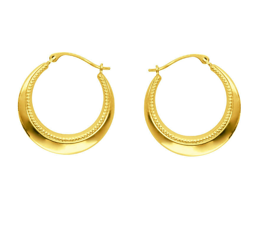 graduated textured round hoop earrings real 14k yellow. Black Bedroom Furniture Sets. Home Design Ideas