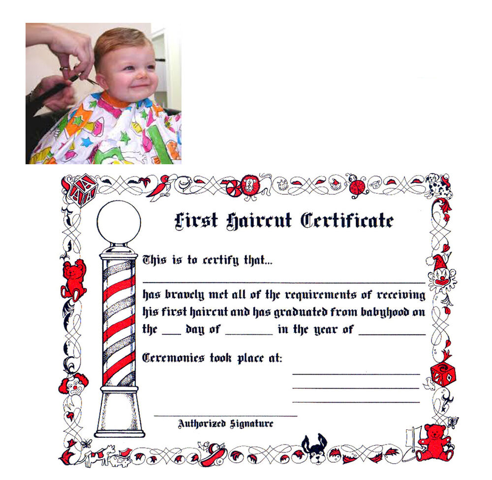 Barber Shop Kids First Haircut Official Paper Certificate 1 Pack