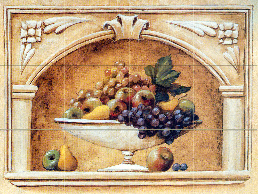 Art fruit mural tumbled marble backsplash bath tile 111 for Ceramic tile mural backsplash